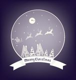 Christmass Village Design With Lettering Royalty Free Stock Images