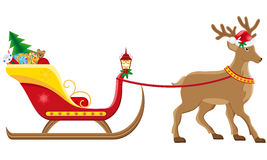 Christmassanta sleigh with reindeer Stock Photos