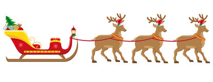 Christmassanta sleigh with reindeer Stock Images