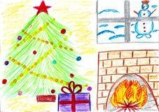 Christmassboom met giften, schoorsteen, sneeuwman, kindtekening stock illustratie