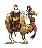 Christmasssneeuwman en lama Stock Foto