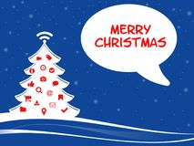 Christmassy illustration with web symbols and merry chistmas. Stock Images