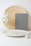 Christmassy plate with a gray card Stock Photo