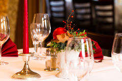 Christmassy table setting in a restaurant Stock Photography