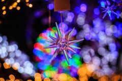 Christmast光和星形 免版税库存图片