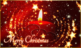 Christmast  candle  with stars Royalty Free Stock Images