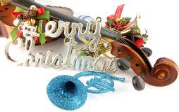 Christmast Ornaments. Christmas Ornaments with Violin on White Back Ground Stock Photos