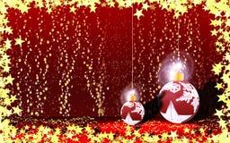 Christmastide światła i drzewa przybycie od nieba ilustracji