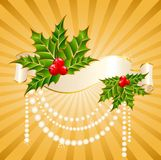 christmastides διακοσμημένη κορδέλλ&al Στοκ Εικόνες