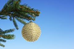 Christmastime. Christmas bauble on christmas tree Royalty Free Stock Photography