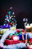Christmastime. A closeup view of several Christmas ornaments, decorations and wrapped gifts Royalty Free Stock Images