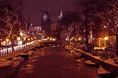 Christmastime in Amsterdam Netherlands. Christmastime in Amsterdam the Netherlands at night royalty free stock photos