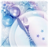 Christmastime silverware Stock Photos