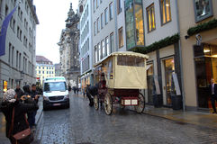 Christmastime street Dresden Stock Photography