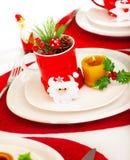 Christmastime Tabelleneinstellung Stockbild
