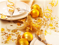 Christmastime table decoration Royalty Free Stock Photography