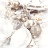 Christmastime table setting Royalty Free Stock Images
