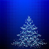 Christmastree. Abstract vector illustration of a christmas tree over a halftone background Stock Photography