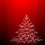 Christmastree. Abstract vector illustration of a christmas tree over a halftone background Stock Photo