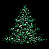 Christmastree. Abstract vector illustration of a christmas tree over a black background Stock Photos