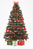 Christmastree with 3 presents. Christmastree with present boxes on white background Royalty Free Stock Images