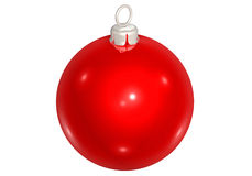 Christmastree ball. Red christmastree ball on white base Royalty Free Stock Images