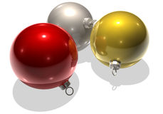 Christmastree balls. Three christmastree balls red silver and gold Stock Images