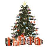Christmastree con 1 präsent Immagini Stock