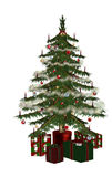 Christmastree con 3 präsent Fotografia Stock
