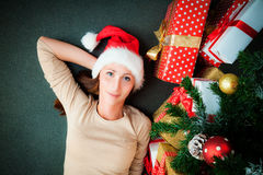 Christmastree dreaming Stock Image