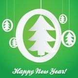 ChristmasTree en tarjeta del vector del extracto del círculo o Fotografía de archivo libre de regalías