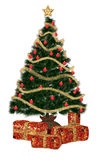 Christmastree with present. A beautiful Christmas tree with gifts - isolated on white Royalty Free Stock Images