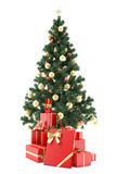 Christmastree with presents. Christmastree with present boxes on white background Stock Image