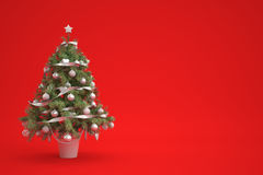 Christmastree on red background. With silver decorations Stock Photography