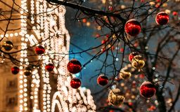 Christmastree at the Red Square. Moscow, Russia on GUM background at night Royalty Free Stock Photo