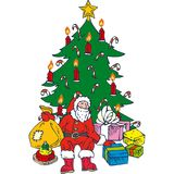 ChristmasTree and Santa. Christmas Tree, Santa and Gifts Isolated on a White Background Stock Images