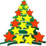 Christmastree stars le rouge et le jaune Photo libre de droits