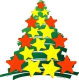 Christmastree stars red and yellow. Hand drawn christmas tree with stars in red and yellow Royalty Free Stock Photo