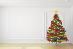 Christmastree in white room. With copy space Royalty Free Stock Image
