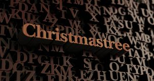Christmastree - Wooden 3D rendered letters/message. Can be used for an online banner ad or a print postcard Royalty Free Stock Image