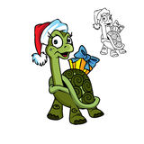 Christmasturtle with the gift Stock Photos