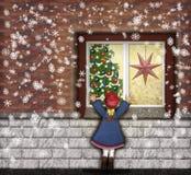 Christmaswindowen Arkivbild