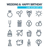 ChristmaWedding and happy birthday lined icons Stock Image