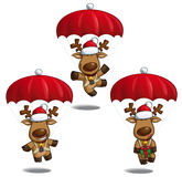 Christms Elks Parachute Stock Images