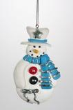 Christms Ornamen Snowmany com chapéu alto e lenço Fotografia de Stock Royalty Free