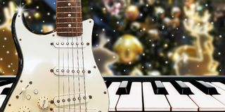 Christnas与钢琴和吉他的党音乐在午夜时间 图库摄影