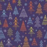 Christnas drzew bezszwowy wzór Zdjęcie Stock