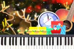 Christnas partimusik med pianot och gitarren på midnatt tid på Royaltyfri Foto