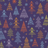 Christnas trees seamless pattern. Vector seamless pattern with sweet hand-drawn illustrations of decorated Christmas trees royalty free illustration