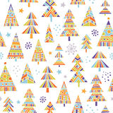 Christnas trees seamless pattern. Vector seamless pattern with sweet hand-drawn illustrations of decorated Christmas trees vector illustration